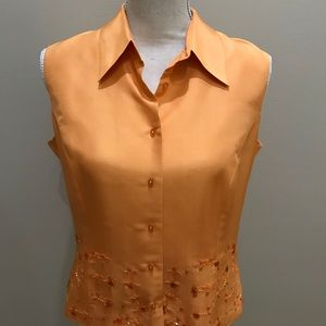 Tops - 100% Silk lined sleeveless Orange Top